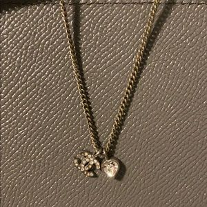 Chanel crystal heart necklace